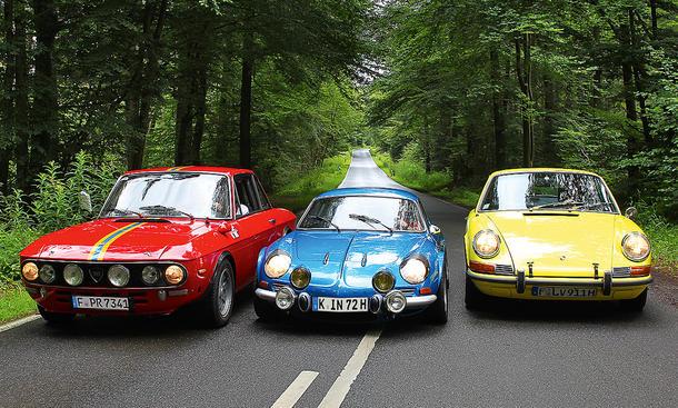 Classic Cars Porsche 911 T Lancia Fulva Renault Alpine A110 Vergleich Sportwagen Legenden