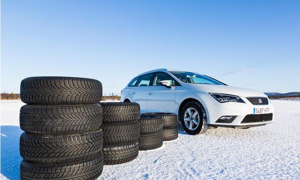 Winterreifen Test 2014 Seat Leon ST Schnee Finnland Ivalo