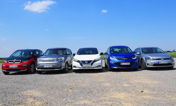 BMW i3s/Kia Soul EV/Nissan Leaf/Opel Ampera-e/VW e-Golf