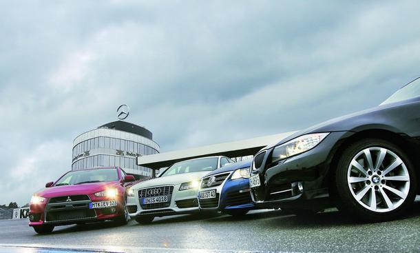 Der neue Audi S4 im Wettstreit mit BMW 335i, Mitsubishi Lancer Evo und VW Passat R36