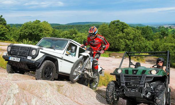 Off the road: Yamaha Rhino 700, BMW G 450 X und Mercedes G 280 Edition Pur