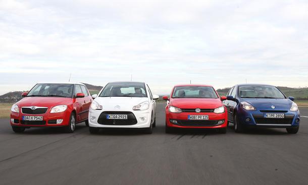 Vergleichstest: Vier aktuelle Kleinwagen von Citroën C3 bis VW Polo im Vergleich