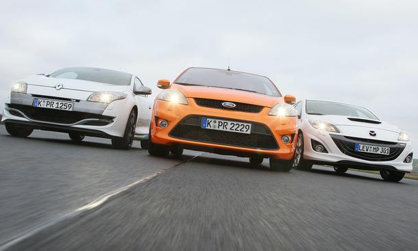 Vergleich: Das neue Renault Mégane Coupé mit 250 PS stellt sich dem Ford Focus ST und dem Mazda 3 MPS