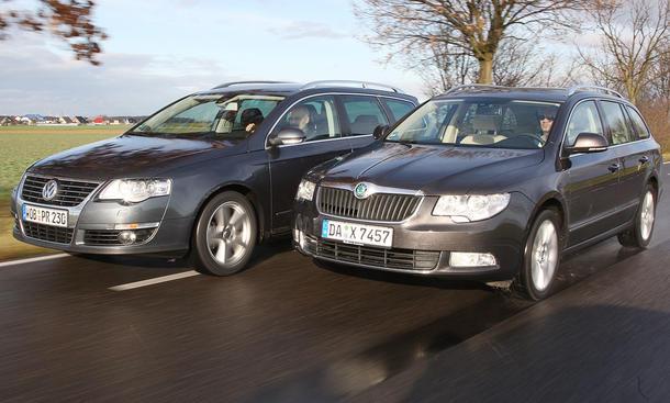 Vergleich der Mittelklasse-Kombis – VW Passat Variant 2.0 TDI und Skoda Superb Combi 2.0 TDI