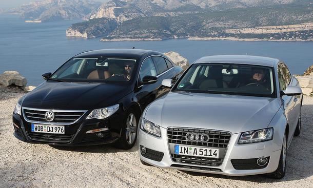 Zum Vergleichstest der Mittelklasse treten an: VW Passat CC 2.0 TDI 4MOTION und Audi A5 Sportback 2.0 TDI