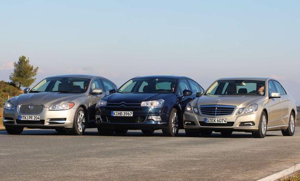 Oberklasse-Diesel: Jaguar XF, Citroën C5 und Mercedes E-Klasse im Vergleichstest