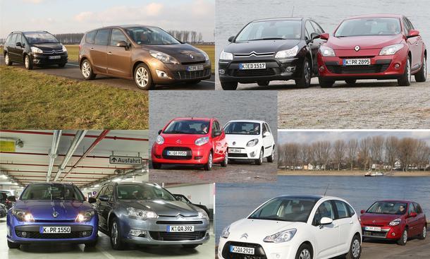 Markenduell in allen Klassen: Citroën und Renault treten in fünf Vergleichstests gegeneinander an