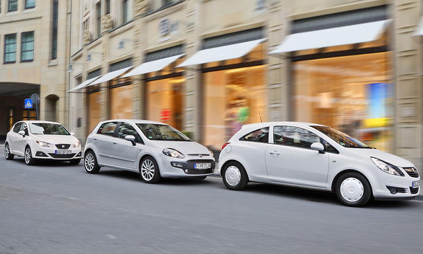 Dreitürige Kleinwagen mit Turbodiesel: Fiat Punto Evo, Opel Corsa und Seat Ibiza im Vergleichstest