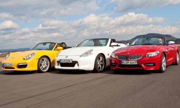 Offene Sportwagen im Vergleich: Porsche Boxster S, Nissan 370Z Roadster und BMW Z4