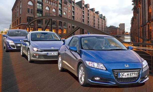 Kompakt-Coupés: Honda CR-Z 1.5 IMA, Renault Mégane Coupé TCe 130 und VW Scirocco 1.4 TSI