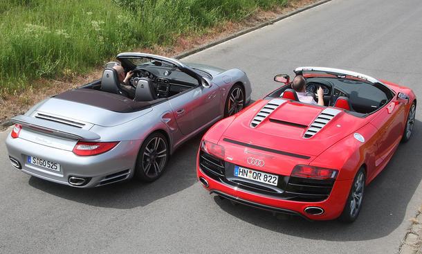 Sport-Cabrios: Audi R8 Spyder 5.2 FSI quattro und Porsche 911 Turbo S Cabrio