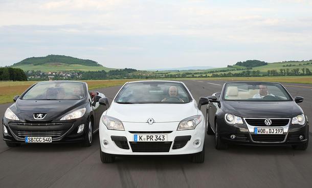 Die neuen Klappdach-Cabriolets: Peugeot 308 CC HDi FAP 140, Renault Mégane CC dCi 130 FAP, VW EOS 2.0 TDI DSG