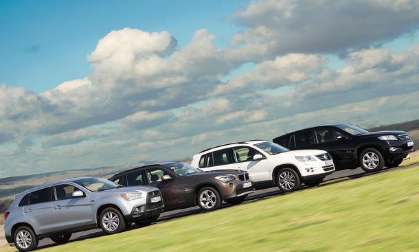 Kompakte Einstiegs-SUV ohne Allrad: BMW X1, Mitsubishi ASX, Toyota RAV4 und VW Tiguan im Vergleichstest