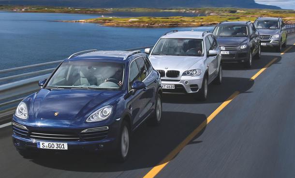 AUTO ZEITUNG SUV-Vergleichstest: Porsche Cayenne Diesel gegen BMW X5, VW Touareg und Mercedes M-Klasse