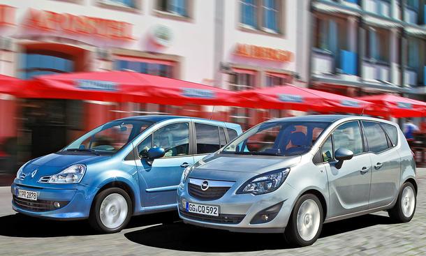 Vergleichstest der kompakten Familienvans: Der neue Opel Meriva tritt gegen den Renault Grand Modus an