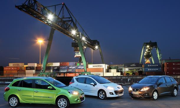 Kleinwagen-Kombis im Vergleichstest: Peugeot 207 SW Renault Clio Grandtour, Seat Ibiza ST