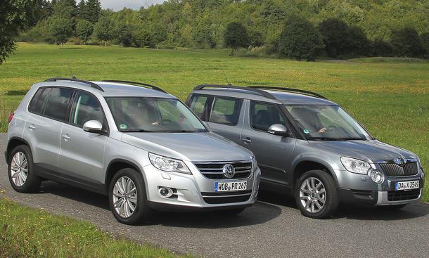 Markenvergleich Skoda gegen VW: Skoda Yeti 2.0 TDI 4x4 und VW Tiguan 2.0 TDI 4Motion im Test