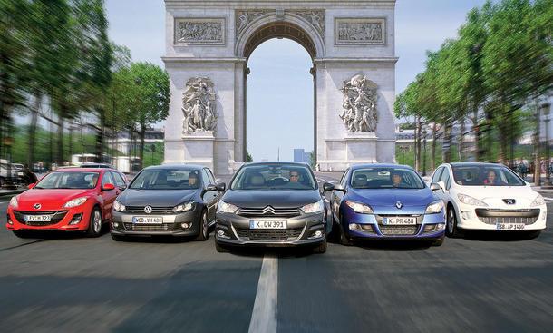 Citroën C4, Mazda 3, Peugeot 308, Renault Mégane und VW Golf im Vergleichstest