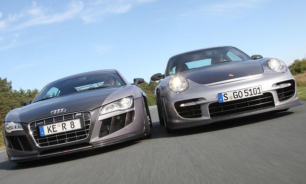 Abt Audi R8 GTR und Porsche 911 GT2 RS im Tracktest