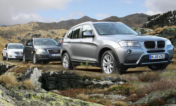 SUVs im Test der AUTO ZEITUNG: Audi Q5 2.0 TDI quattro, BMW X3 xDrive20d und VW Tiguan 2.0 TDI 4Motion