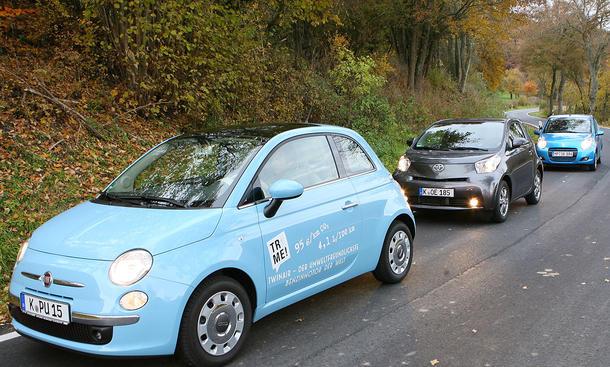 Fiat 500 TwinAir, Suzuki Alto 1.0 und Toyota iQ 1.0 VVT im Test