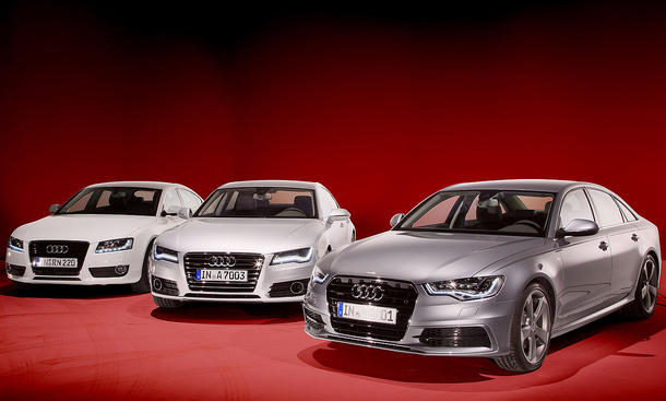 Drei Audis im Test der AUTO ZEITUNG - Audi A6, Audi A5 Sportback und Audi A7 Sportback