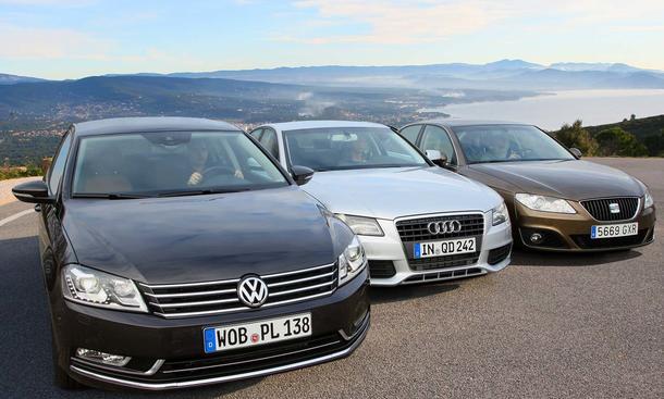 Vergleichstest: VW Passat, Audi A4 und Seat Exeo