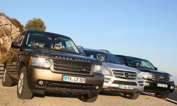 Range Rover 4.4 TDV8, Mercedes GL 450 CDI 4MATIC und Toyota Land Cruiser V8 D-4D im Vergleichstest