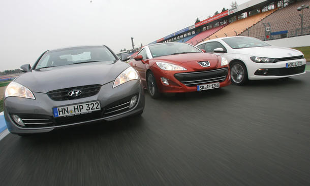 Die Coupés Hyundai Genesis Coupé, Peugeot RCZ und VW Scirocco im Test der AUTO ZEITUNG