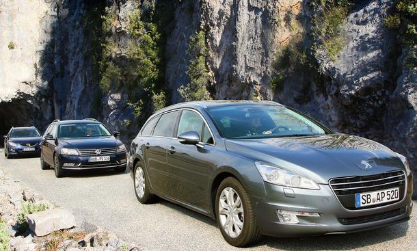 Drei Kombis im Test: Der neue Peugeot 508 SW gegen VW Passat Variant und Mazda 6