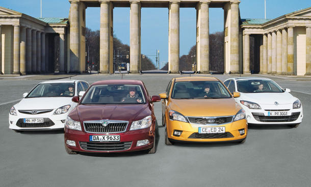Skoda Octavia, Renault Mégane, Kia cee'd, Hyundai i30: Vier kompakte Sparer im Vergleichstest der AUTO ZEITUNG