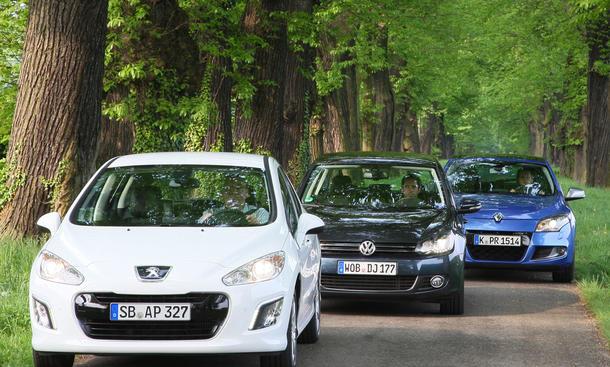 Kompaktklassen im Test:  Peugeot 308, VW Golf, Renault Megane