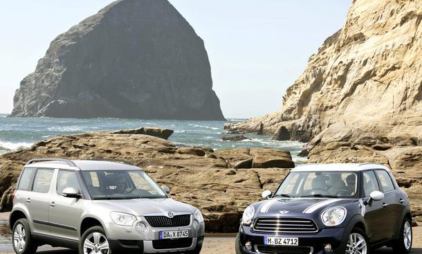 Mini-SUV Countryman und Skoda Yeti im Vergleich