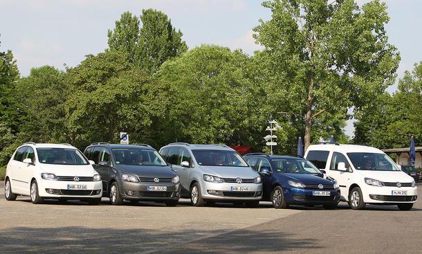 Familienautos von VW im Test: VW Caddy, Golf Plus, Golf Variant, Touran und Sharan