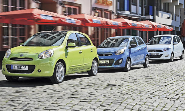 Hyundai i10, Kia Picanto, Nissan Micra: Drei günstige Kleinwagen im Test