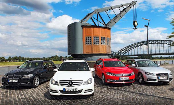 Audi A4, BMW 3er, Mercedes C-Klasse, VW Passat: Vier Mittelklasse-Kombis im Vergleich