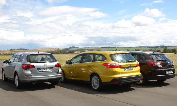 Ford Focus Turnier, Opel Astra Sports Tourer und Renault Mégane Grandtour: Drei Kompakt-Kombis im Vergleichstest