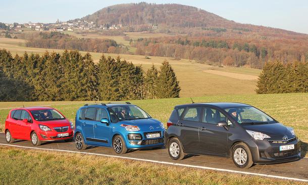 Citroën C3 Picasso HDi 90, Opel Meriva 1.3 CDTI ecoFLEX und Toyota Verso-S 1.4 D-4D im Vergleichstest der AUTO ZEITUNG