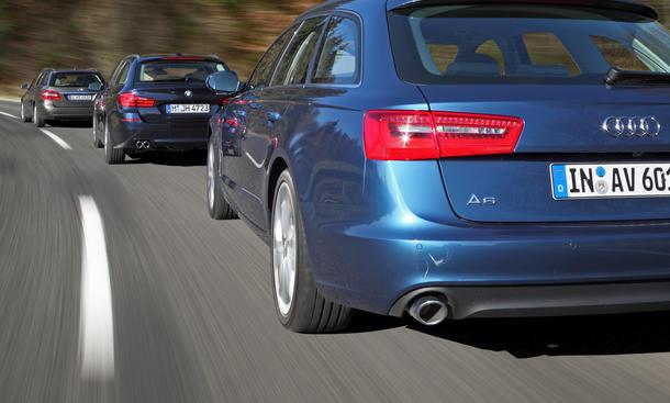 BMW 5er, Audi A6 und Mercedes E-Klasse