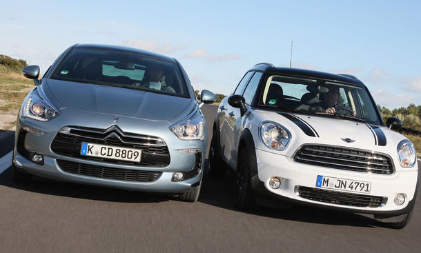 Citroën ds5 e-Hdi 110 airdream 2012 und Mini Cooper D Countryman im Test