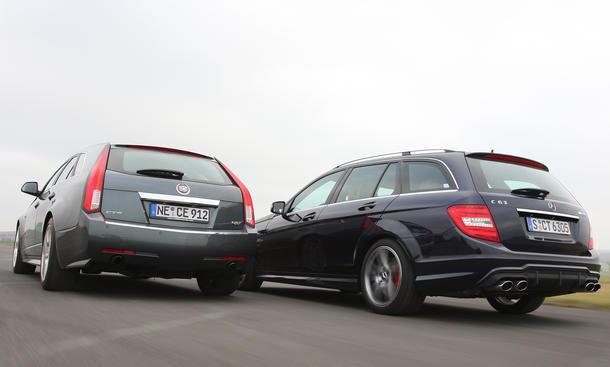 Sport-Kombis im Test: Cadillac CTS-V und Mercedes C 63 AMG