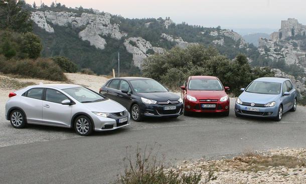 Kompaktklasse Vergleich Honda Civic, VW Golf, Ford Focus, Citroën C4