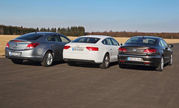 Mittelklasse-Coupés Audi A5 Sportback, Opel Insignia und VW CC im Test