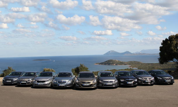 Neun Limousinen im Mittelklasse-Vergleich