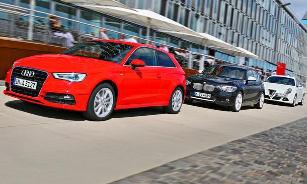 Drei Kompakte im Test: Audi A3, Alfa Romeo Giulietta und BMW 118i im Vergleich