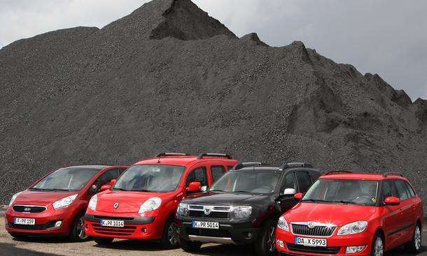 Familienautos im Test : Dacia Duster, Kia Venga, Renault Kangoo und Skoda Fabia Combi im Vergleich