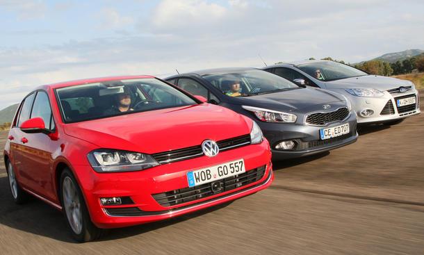 Kompaktklasse Vergleich Kia Cee'd VW Golf Ford Focus