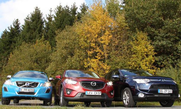 SUV-Test 2012: Mitsubishi Outlander gegen Mazda CX-5 und Volvo XC60