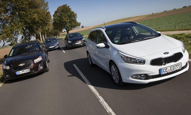 Kompaktklasse Kombi Vergleich Kia cee'd Chevrolet Cruze Hyundai i30 Opel Astra Kia cee'd