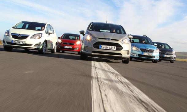 Mini-Vans Vergleich Turbodiesel Ford B-MAX Skoda Roomster Opel Meriva Kia Venga Toyota Verso-S